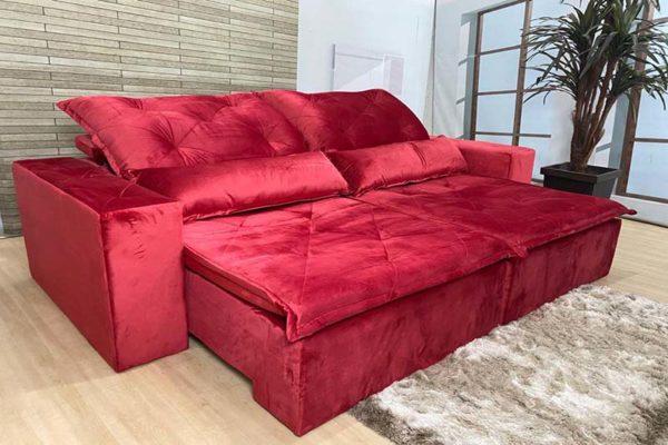 Sofá Retrátil Reclinável 2.30m - Modelo Ômega Vermelho