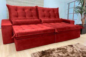 Sofá Retrátil Reclinável 2.30m - Modelo Nairóbi Vermelho