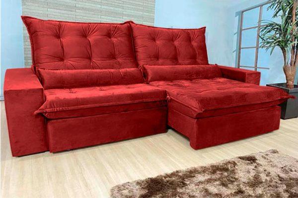Sofá Retrátil Reclinável 2.50m - Modelo Cairo Vermelho