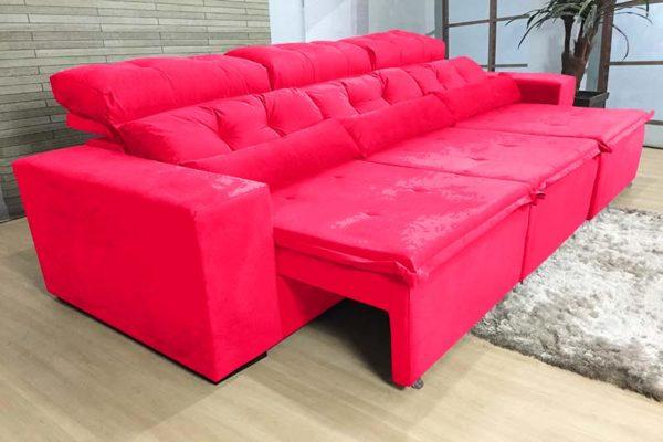 Sofá Retrátil Reclinável 2.70m - Modelo Petros Vermelho