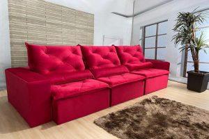 Sofá Retrátil Reclinável 2.90m - Modelo Delta Vermelho