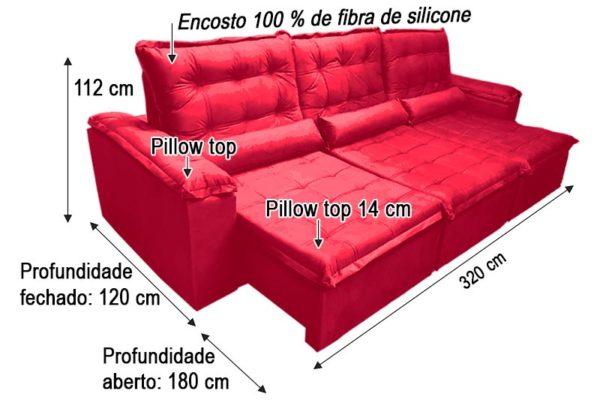 Sofá Retrátil Reclinável 3.20m - Modelo Berlim Vermelho