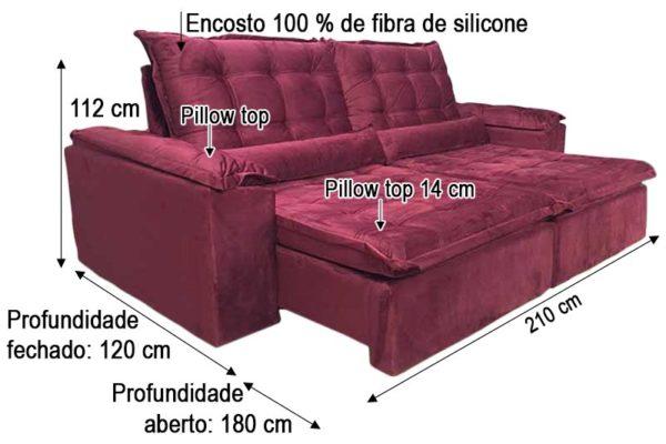 Sofá Retrátil Reclinável 2.10m - Modelo Munique Vinho