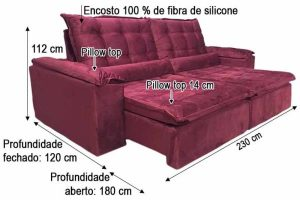 Sofá Retrátil Reclinável 2.30m - Modelo Florença Vinho