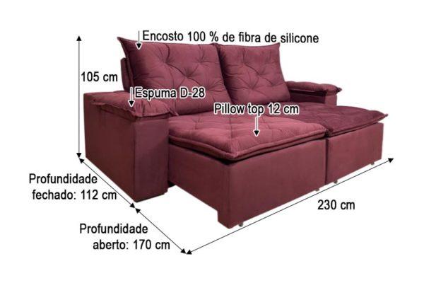 Sofá Retrátil Reclinável 2.30m - Modelo Loreto Vinho