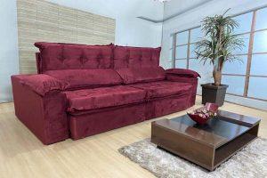 Sofá Retrátil Reclinável 2.50m - Modelo Toronto Vinho