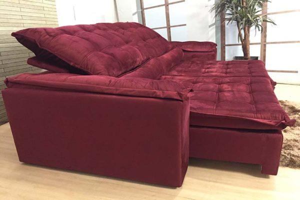 Sofá Retrátil Reclinável 2.90m - Modelo Fernanda Vinho