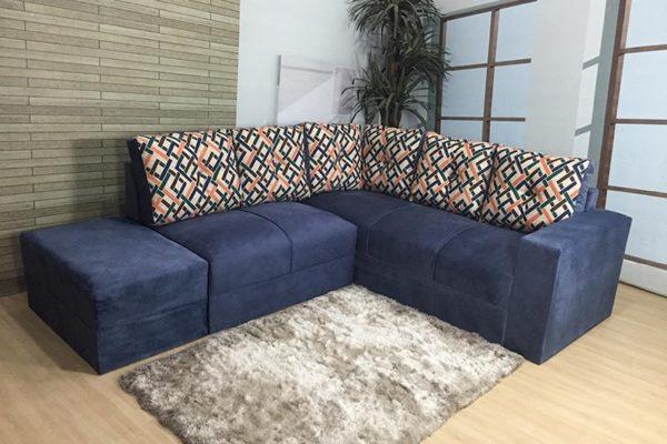 Sofá de Canto Azul com Estampado – Modelo Anetho
