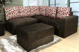 Sofa de Canto Marrom Com Floral Anetho (2)