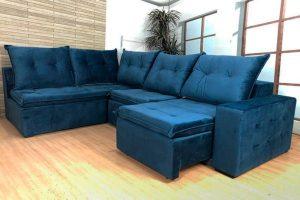 Sofá de Canto Retrátl Azul - Modelo Geribá