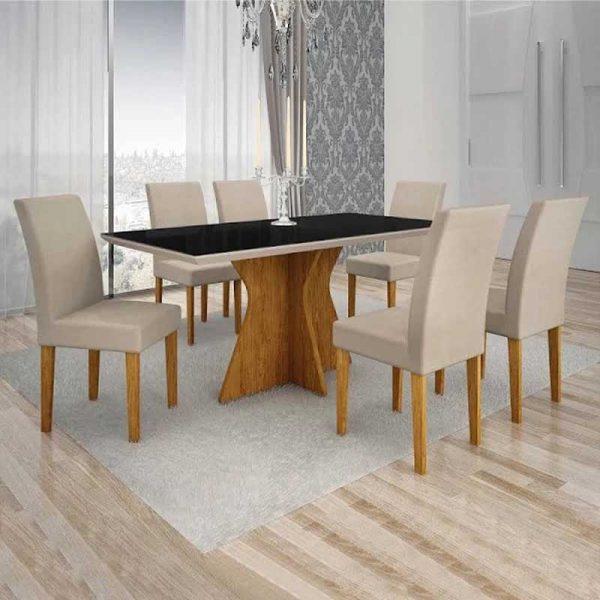 mesa-creta-6-cadeiras-olímpia-vidro preto-ambiente