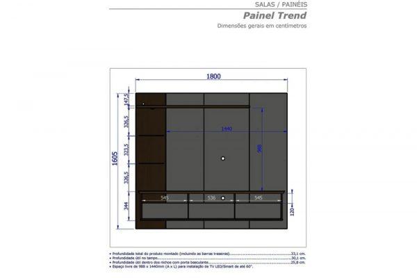 Painel Trend para TV até 60 Polegadas – Preto Fosco/Cinamomo/Nero em Rio de Janeiro